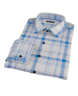 Blue and White Organic Madras Fitted Dress Shirt