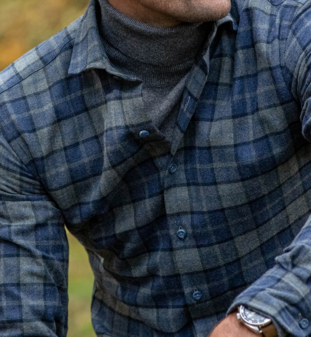 Canclini Grey and Navy Plaid Beacon Flannel