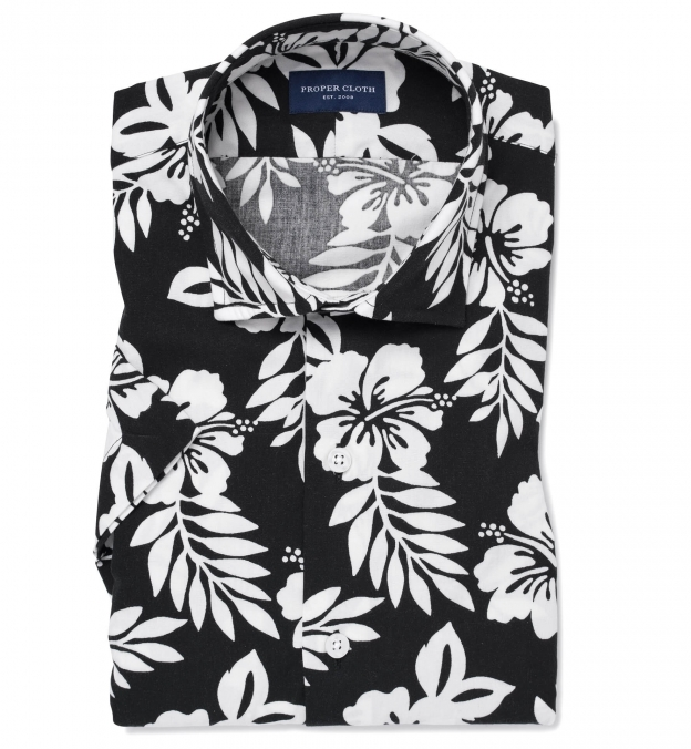 Japanese Black and White Aloha Floral