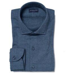 Canclini Glacier Blue Herringbone Beacon Flannel Custom Dress Shirt