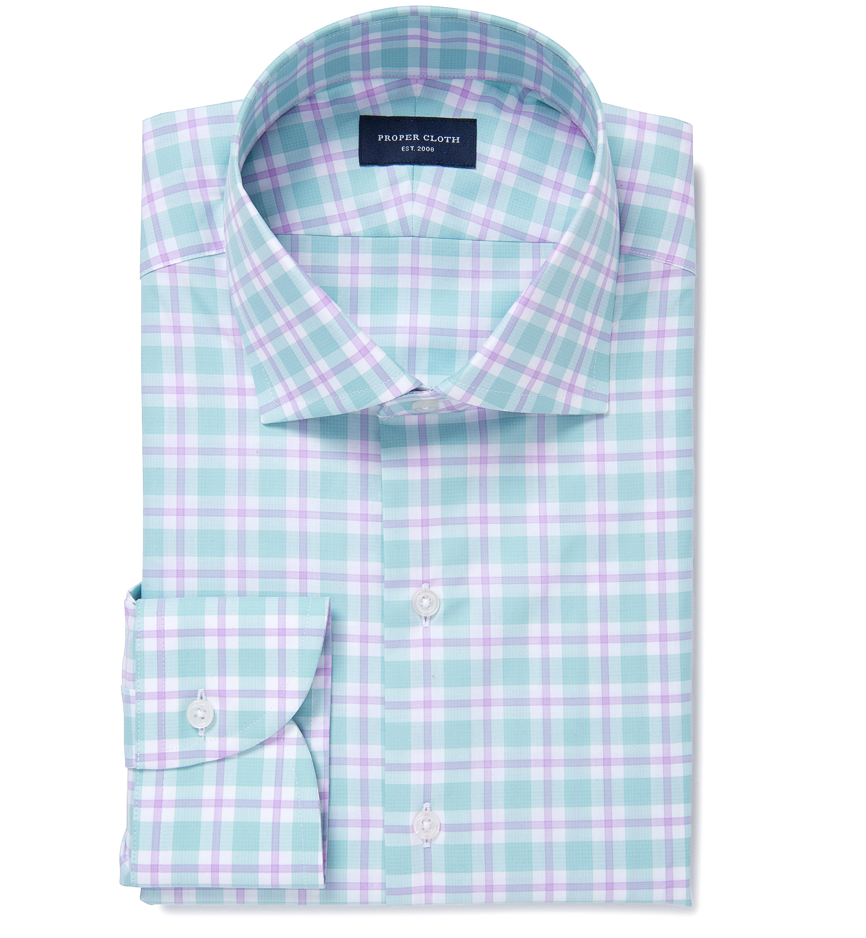 Barrow 120s Mint And Lavender Multi Check Dress Shirt By Proper Cloth