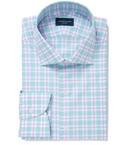 b548a7e7d70b Barrow 120s Mint and Lavender Multi Check Dress Shirt by Proper Cloth