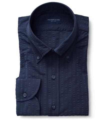 ab6fd08e36854 Portuguese Navy Wide Seersucker Short Sleeve Shirtby Proper Cloth