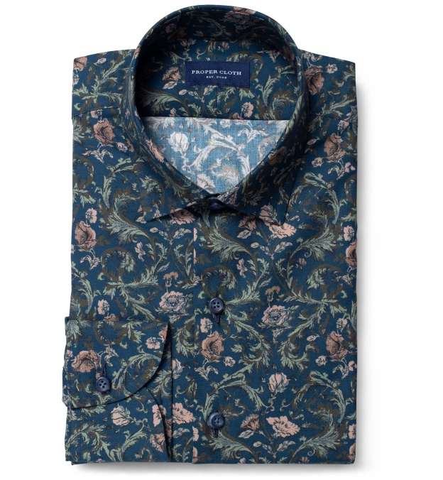 Albini Navy Green and Rose Floral Print
