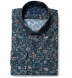 Albini Navy Green and Rose Floral Print Shirt Thumbnail 1