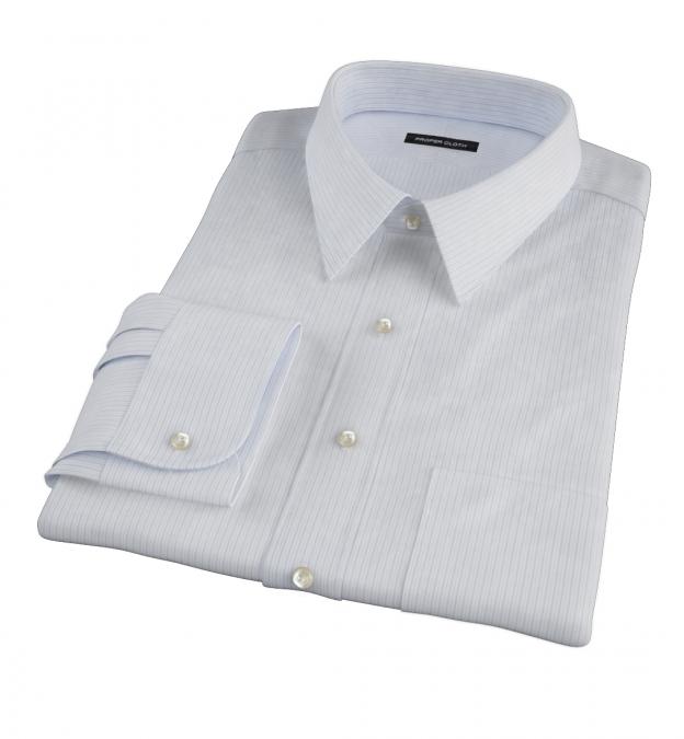Wrinkle Resistant Light Blue Multi Stripe Custom Dress Shirt