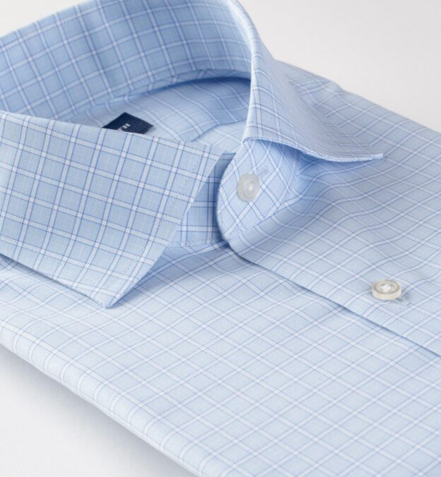 Non-Iron Stretch Light Blue Grid