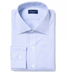Thomas Mason Blue End-on-End Stripe Dress Shirt
