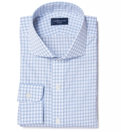 Thomas Mason Light Blue Border Grid Fitted Shirt