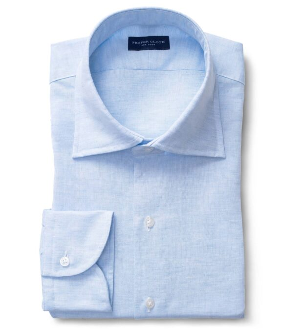 Portuguese Light Blue Cotton Linen Oxford Fitted Shirt