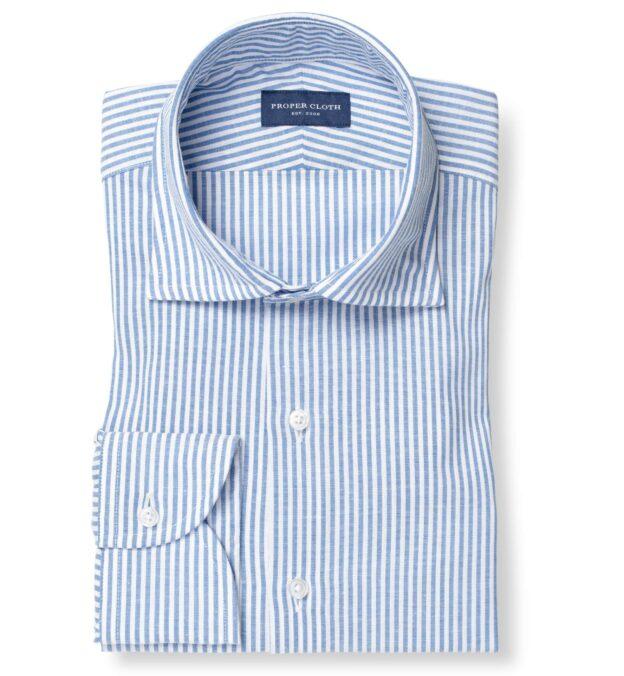 Blue Linen Blend Bengal Stripe Twill
