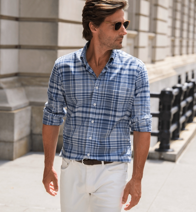 Navy and Light Blue Large Plaid Indian Madras