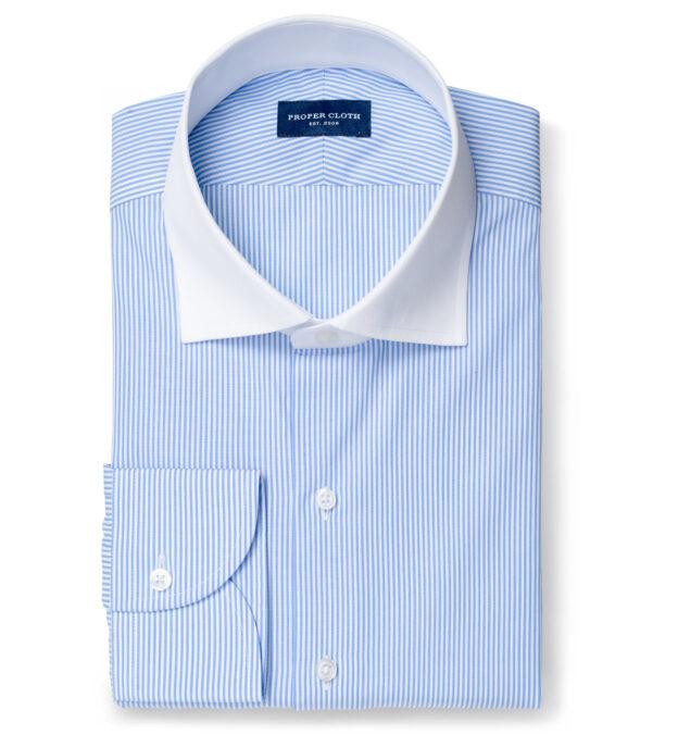 140s Light Blue Wrinkle-Resistant Pencil Stripe Custom Dress Shirt