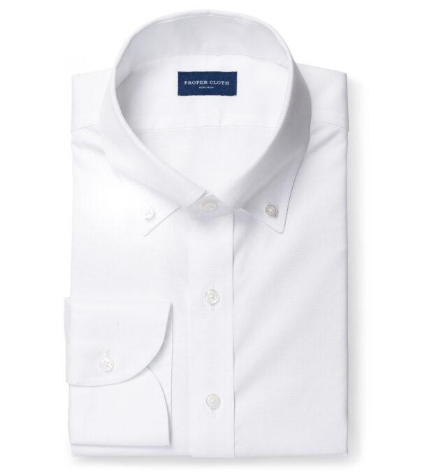 Thomas Mason Non-Iron White Pinpoint Fitted Dress Shirt