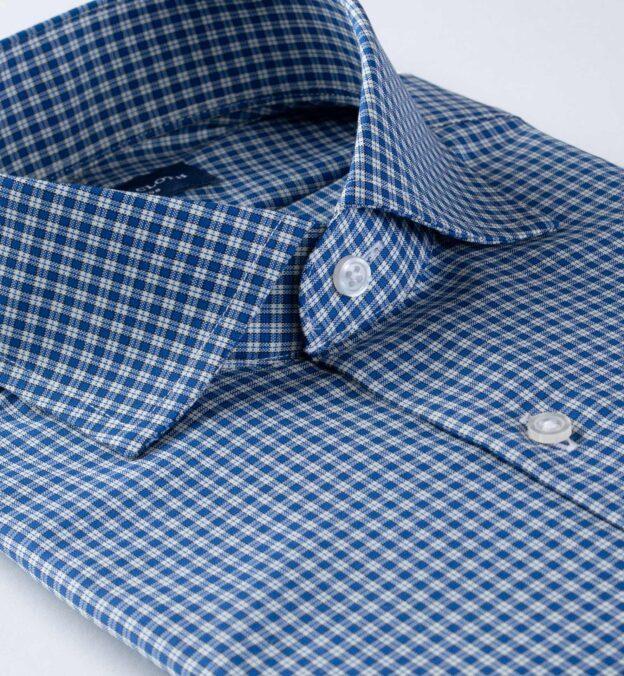 Reda Royal Blue Small Check Merino Wool