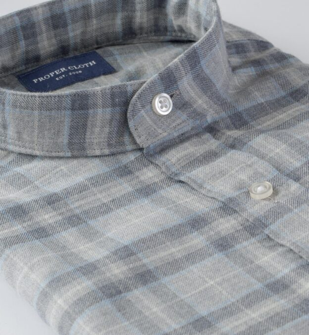 Satoyama Light Grey and Sky Plaid Flannel