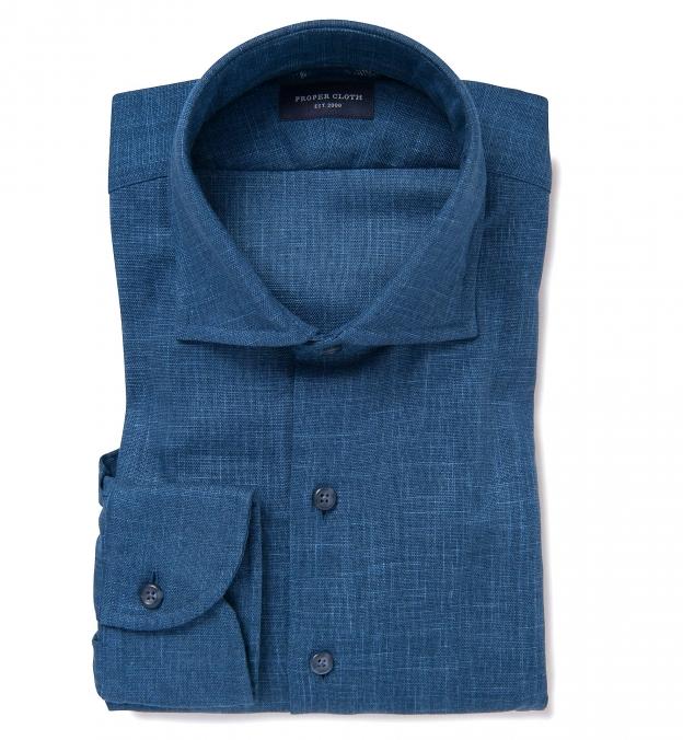 Washed Japanese Blue Slub Weave Men's Dress Shirt