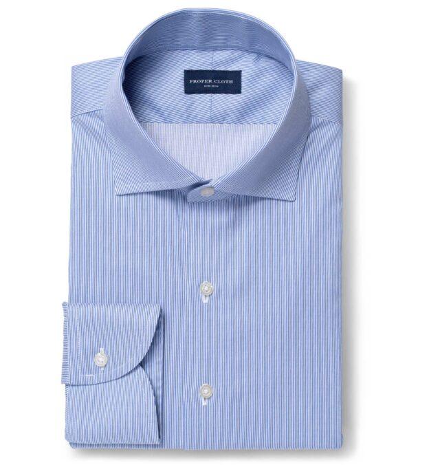 Non-Iron Stretch Royal Blue Fine Stripe