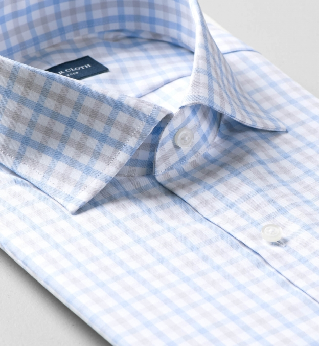 Mayfair Wrinkle-Resistant Grey and Light Blue Multi Check