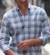 Mesa Faded Blue Cotton and Linen Plaid Shirt Thumbnail 3