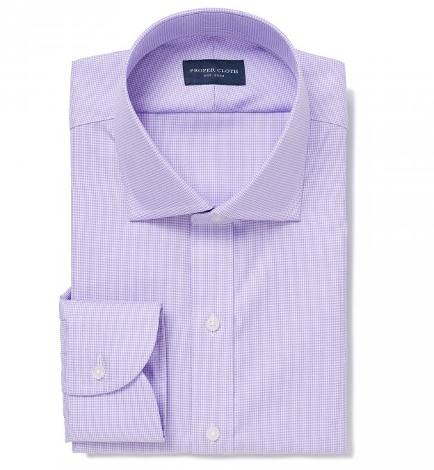Mayfair Wrinkle-Resistant Lavender Houndstooth Tailor Made Shirt