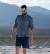 Di Sondrio Slate Blue Delave Glen Plaid Linen Shirt Thumbnail 3