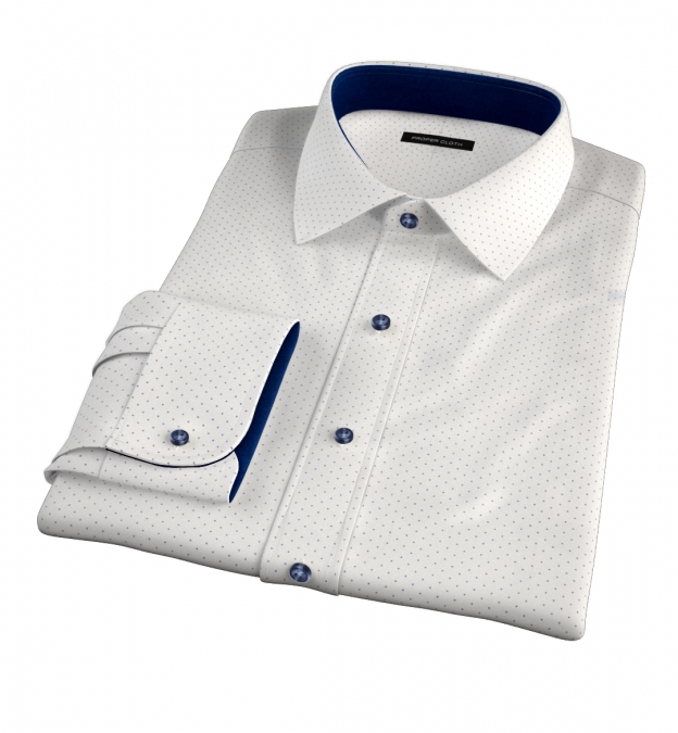 Navy on White Pindot Print Fitted Dress Shirt