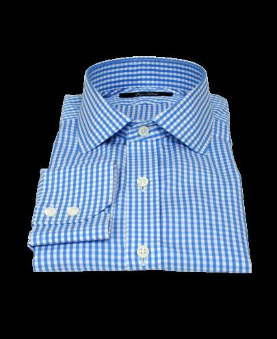 Small Light Blue Japanese Gingham Men's Dress Shirt