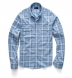 Faded Blue Linen Blend Vintage Plaid Shirt Thumbnail 3