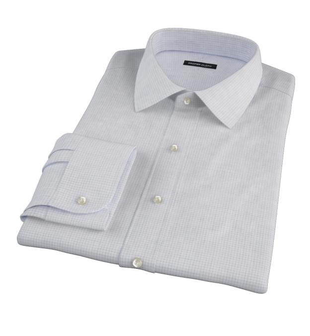 Canclini Grey Melange Grid Fitted Dress Shirt
