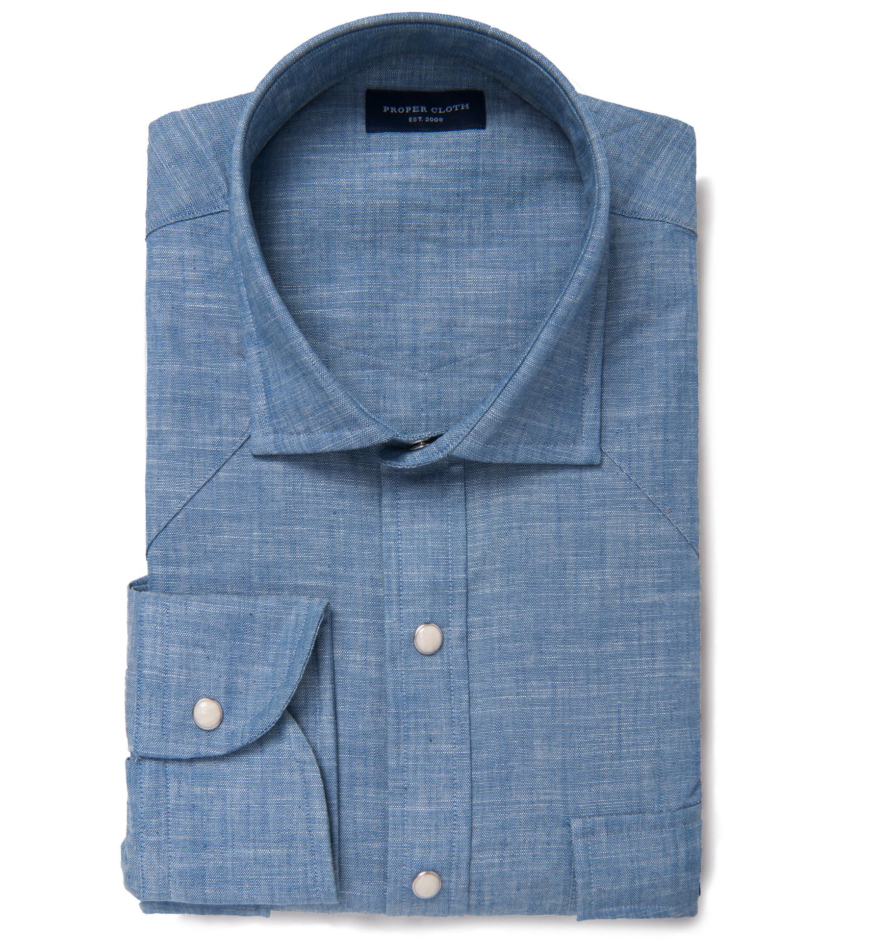 d916fb6f03 Japanese Light Indigo Slub Chambray Dress Shirt by Proper Cloth