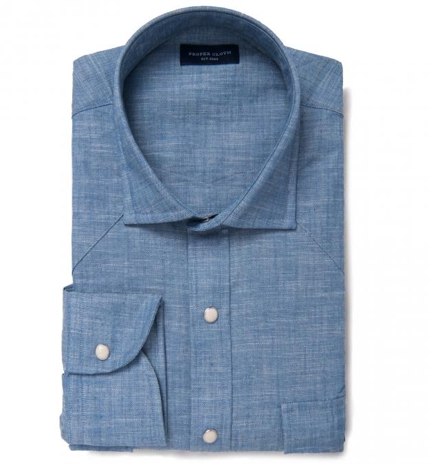 Japanese Light Indigo Slub Chambray Western Shirt