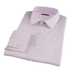 Pink Cotton Linen Stripe Dress Shirt