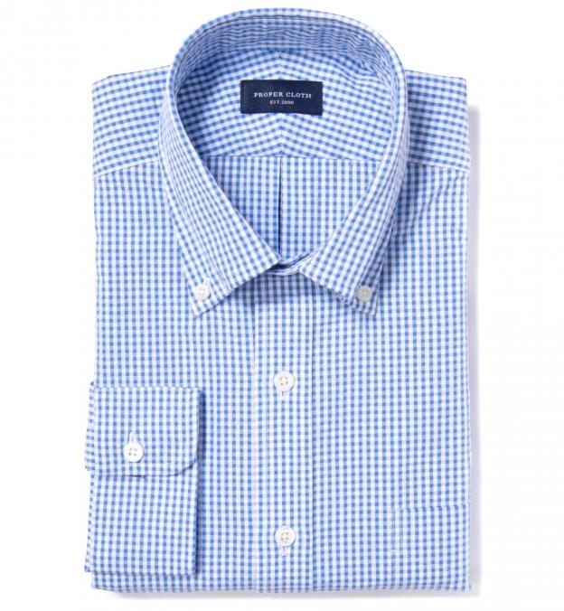 Portuguese Blue Gingham Seersucker Men's Dress Shirt