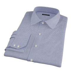 Canclini Navy 120s Mini Gingham Fitted Dress Shirt