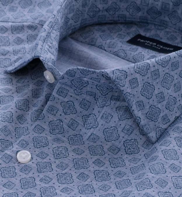 Albini Washed Foulard Print Chambray