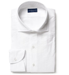 Portuguese White Seersucker Fitted Shirt