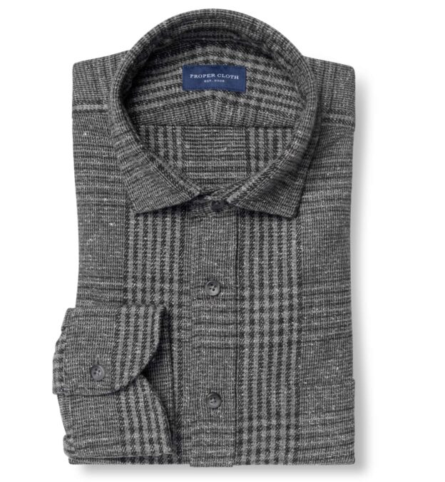 Japanese Grey and Black Cotton Blend Glen Plaid