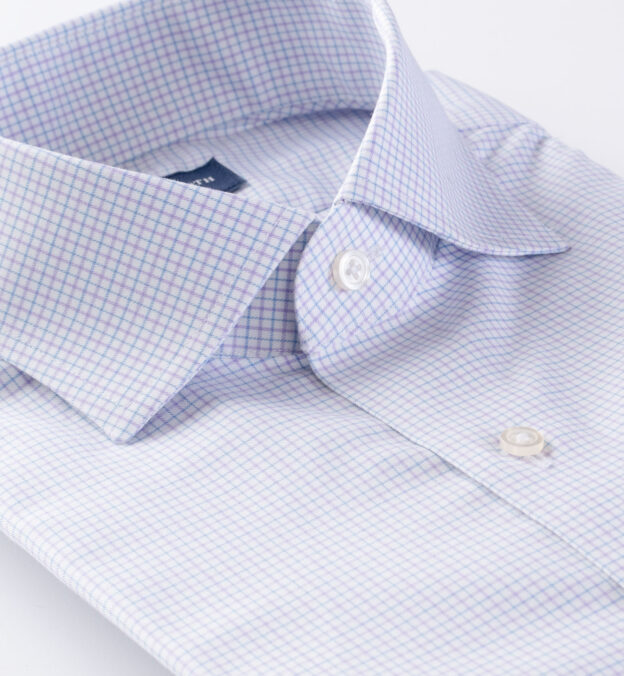 Thomas Mason Non-Iron Stretch Lavender Tattersall