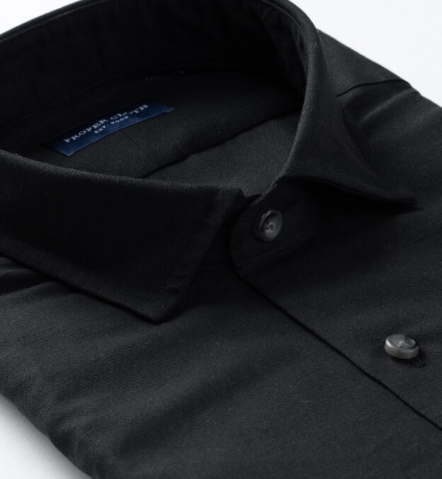Portuguese Black Cotton Linen Oxford