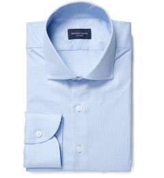 Morris Wrinkle-Resistant Light Blue Small Check Dress Shirt