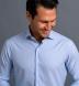 Mayfair Wrinkle-Resistant Light Blue Houndstooth Shirt Thumbnail 3
