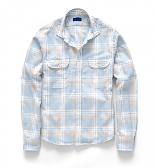 Dusty Blue and Gold California Plaid