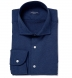 Albini Navy Melange Oxford Shirt Thumbnail 1