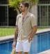 Beige Terry Cloth Knit Shirt Thumbnail 3