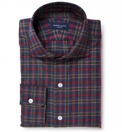 Lewis Red Plaid Flannel Custom Dress Shirt