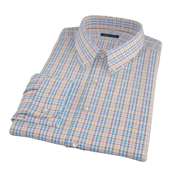 Williams Yellow Purple Multicheck Fitted Dress Shirt