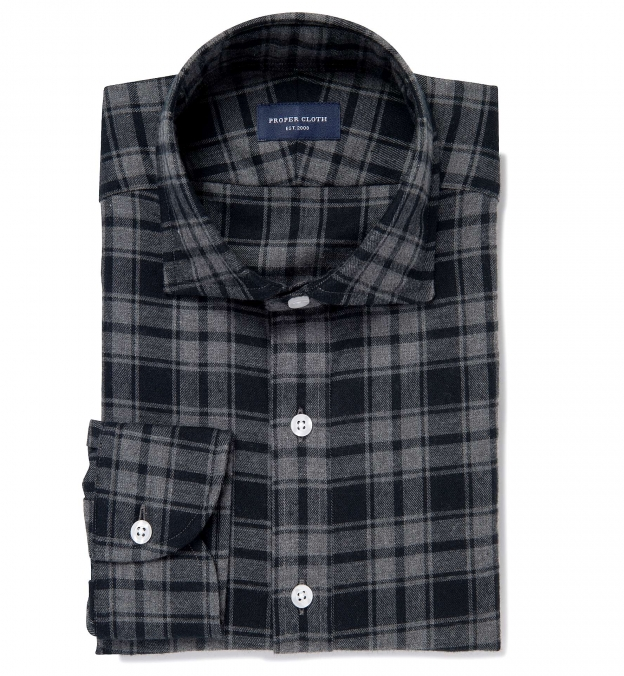 Grey Melange Plaid Flannel