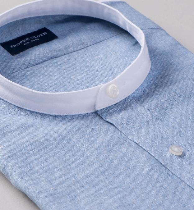 Blue Melange Cotton Linen Blend