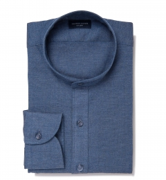 Japanese Slate Blue Chambray Fitted Shirt
